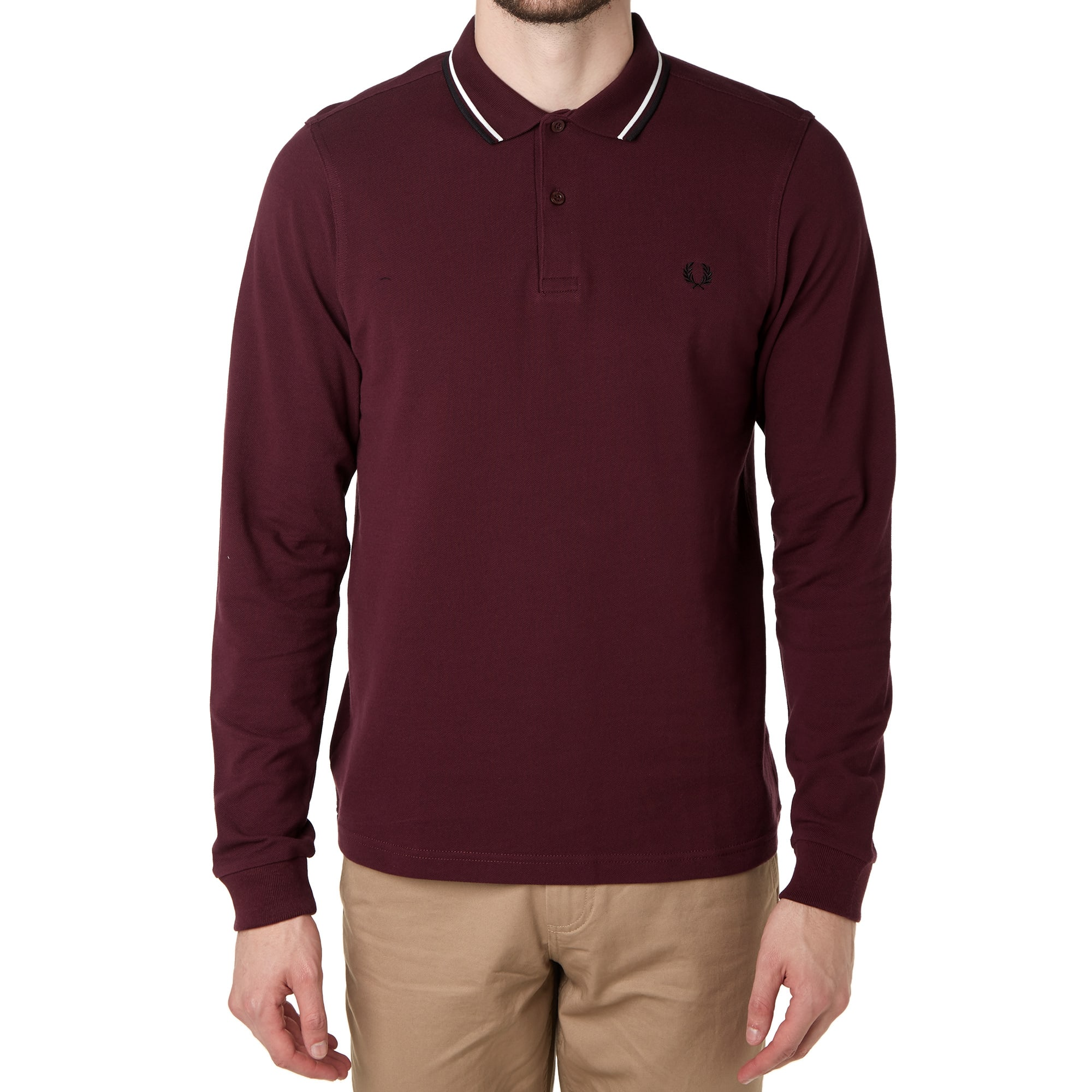 7503a220 Fred Perry Long Sleeve Twin Tipped Polo Mahogany | END.