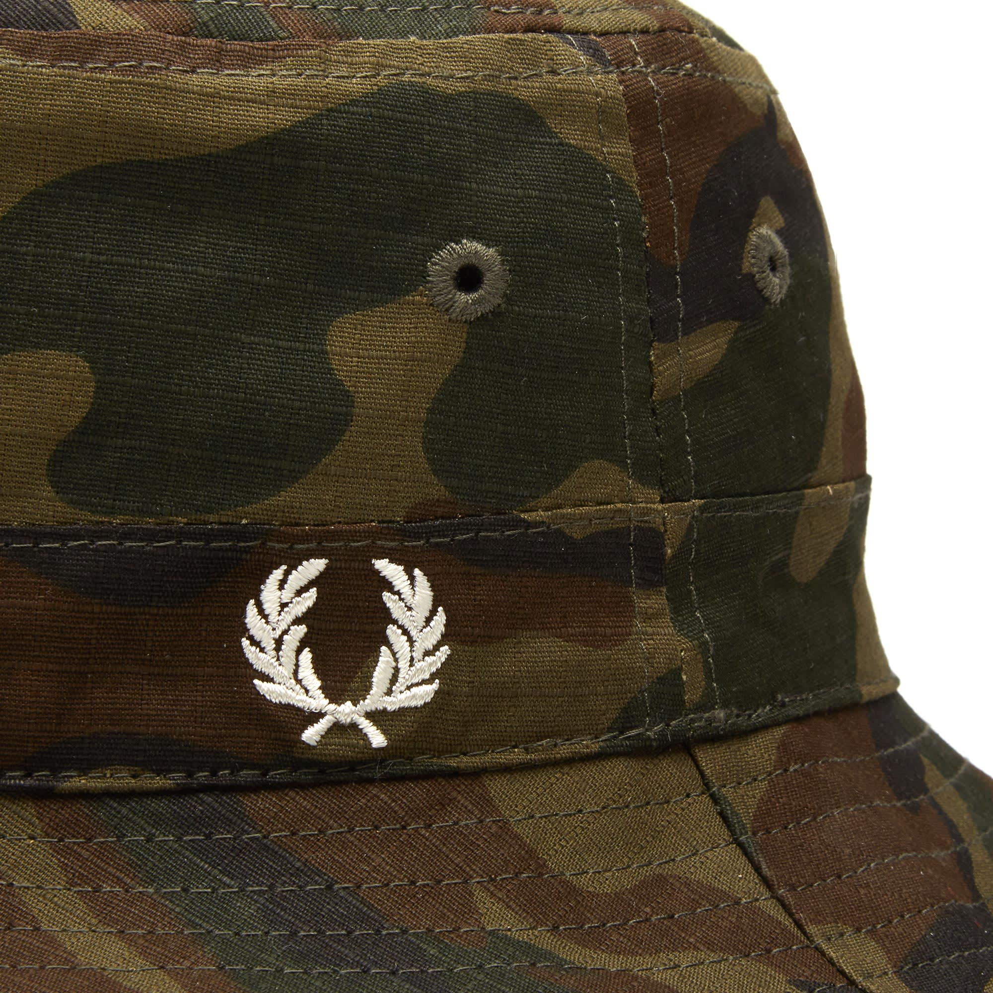 343835eb88d Fred Perry Ripstop Reversible Bucket Hat Camo   Black
