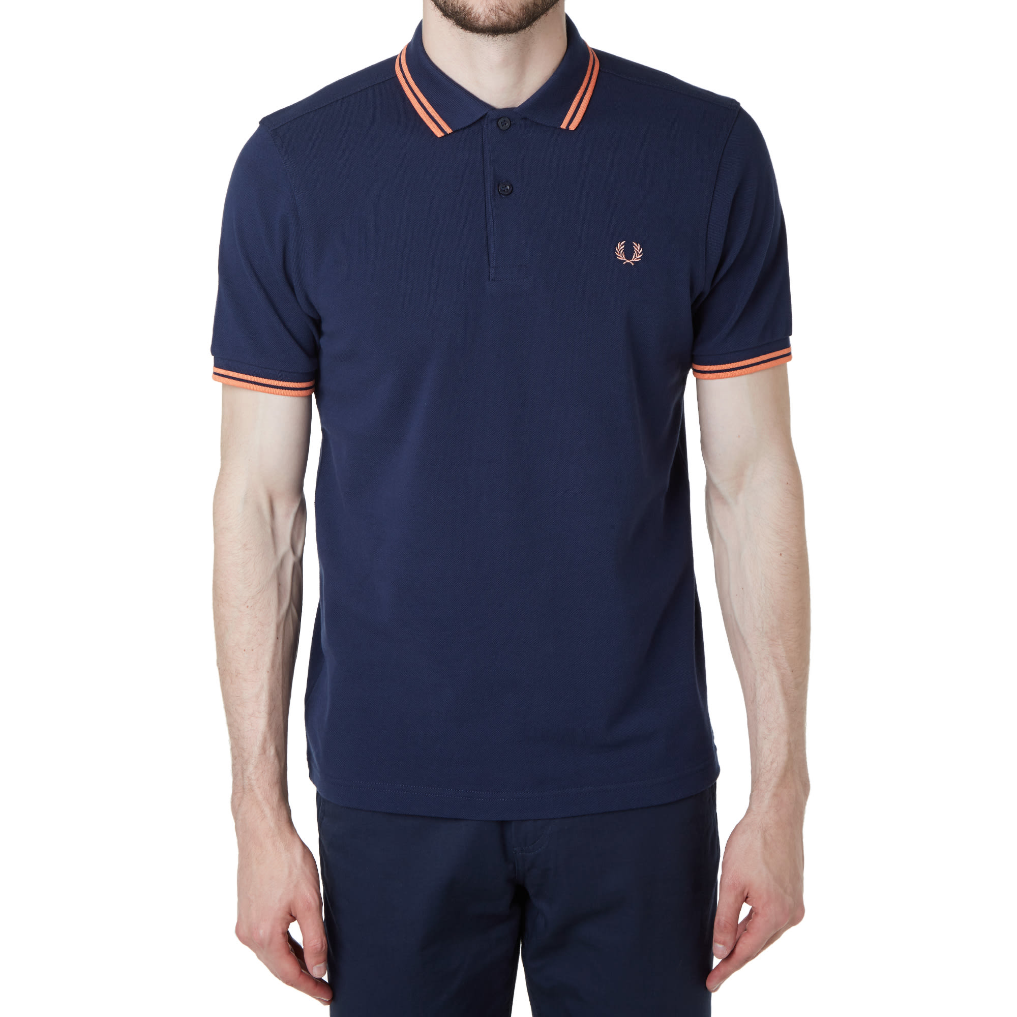 c65f7bfa Fred Perry Slim Fit Twin Tipped Polo Carbon Blue & Nectar   END.