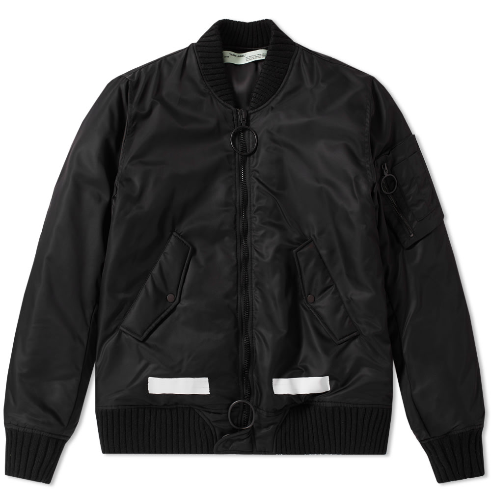 2749044dad45 Off-White Brushed Bomber Jacket Black   White