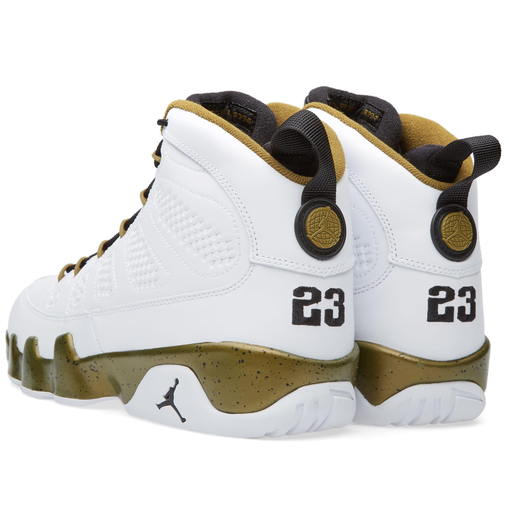 super popular 8e3f6 80c48 Nike Air Jordan 9 Retro  The Spirit  White, Black   Militia Green   END.