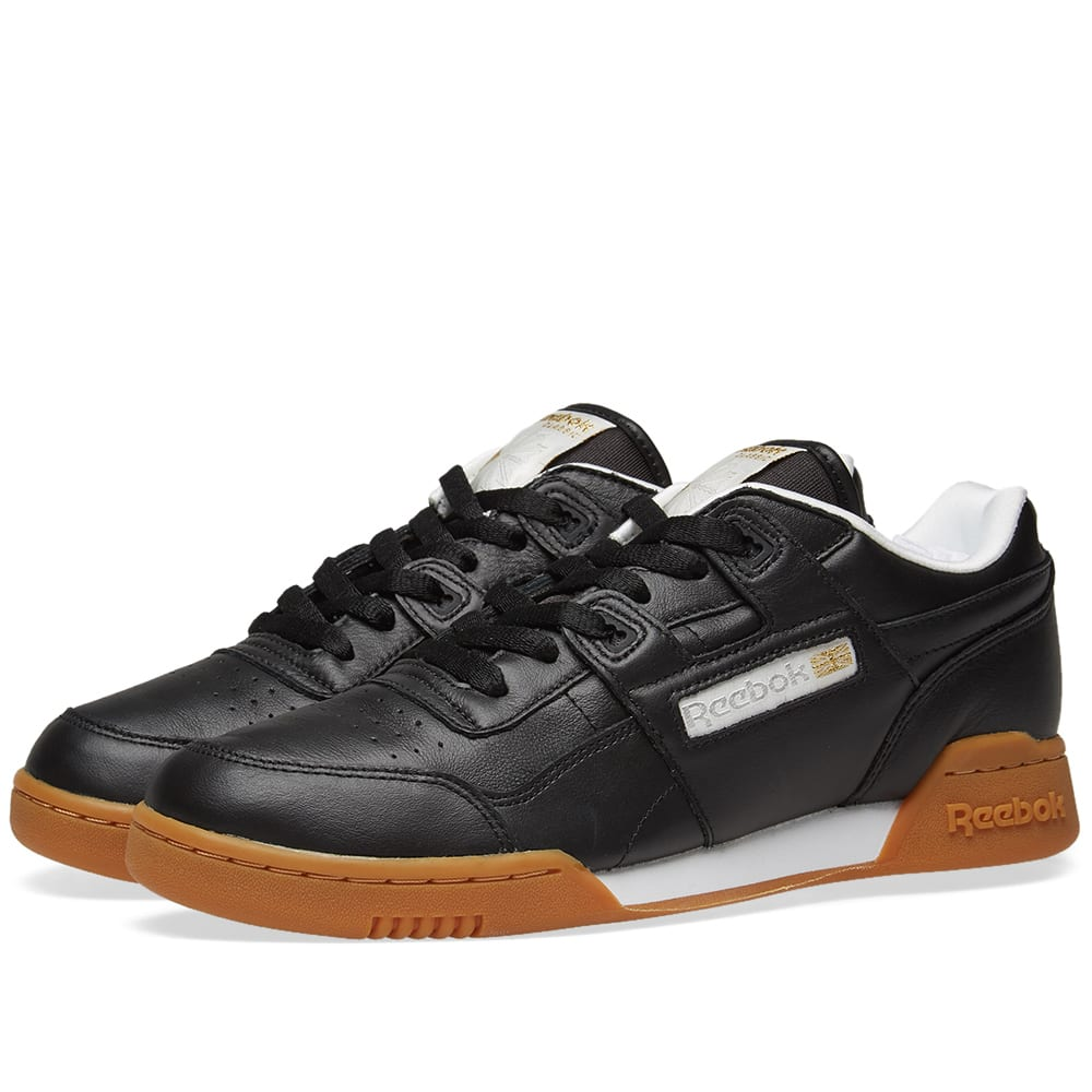 Reebok Workout Lo Plus Leather Trainers In Black  214c65b78