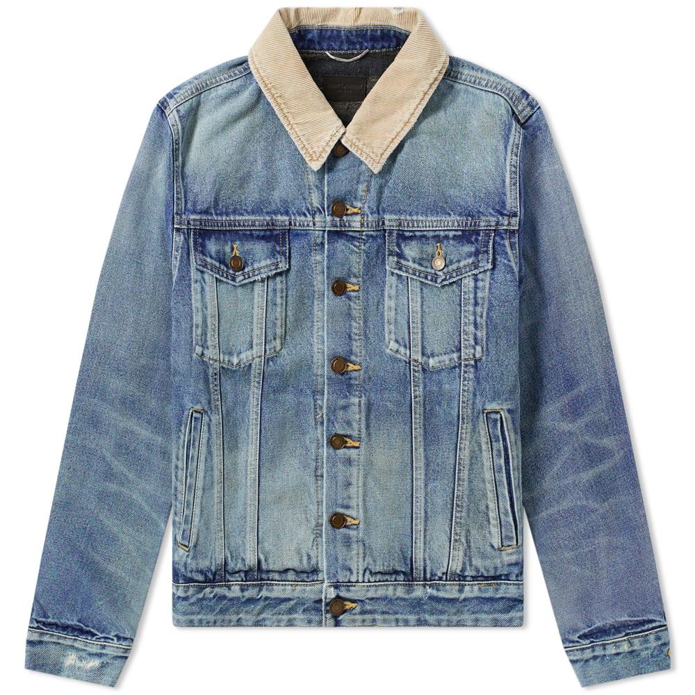 8238b3f4d6 Saint Laurent Corduroy Collar Denim Jacket Blue | END.