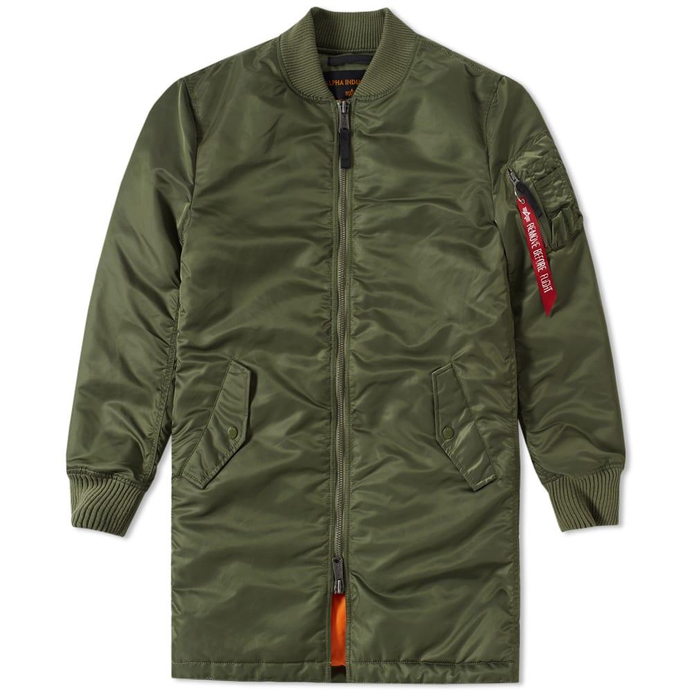 alpha industries ma 1 vf 59 long flight jacket sage green. Black Bedroom Furniture Sets. Home Design Ideas