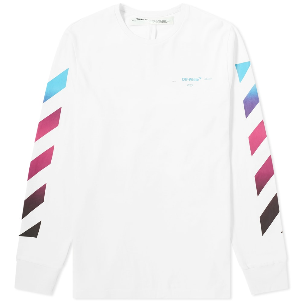 1326e39f875b Off-White Long Sleeve Diagonal Gradient Tee White   Multi