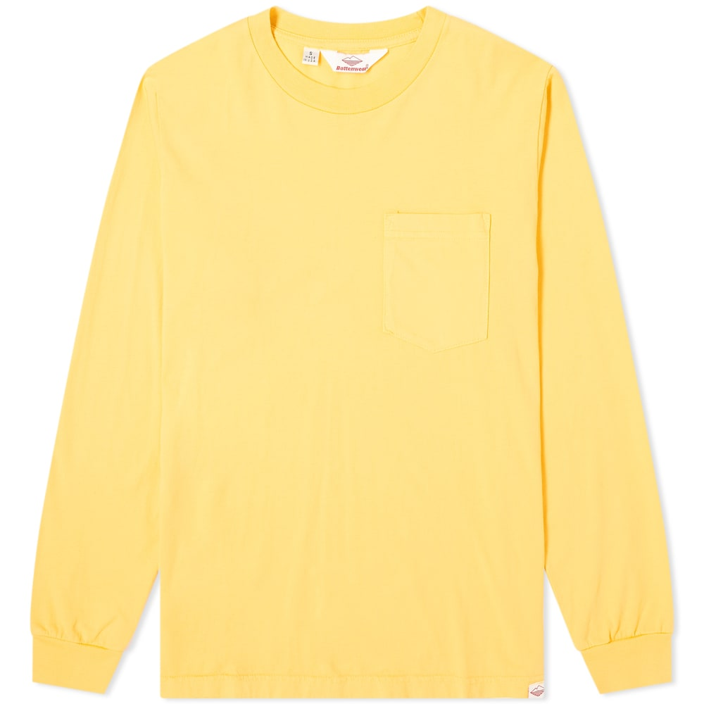 Battenwear Long Sleeve Basic Pocket Tee In Yellow