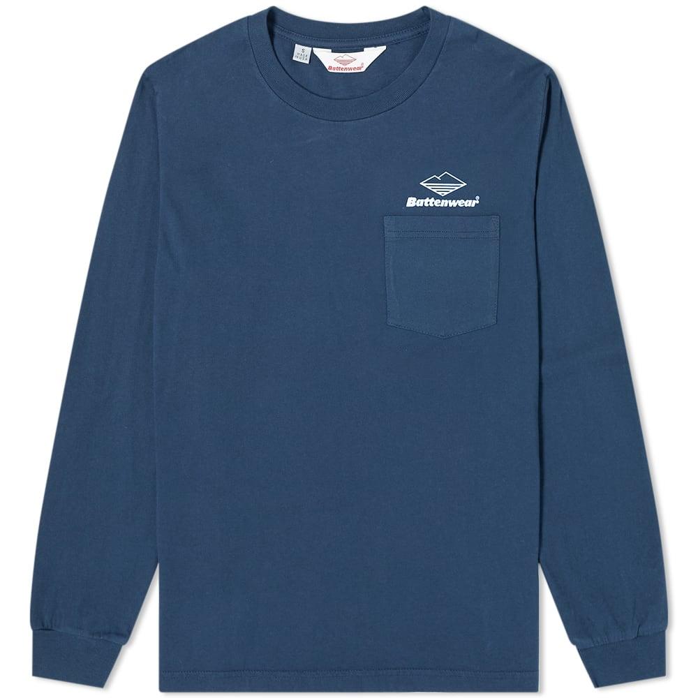 Battenwear Long Sleeve Team Pocket Tee In Blue