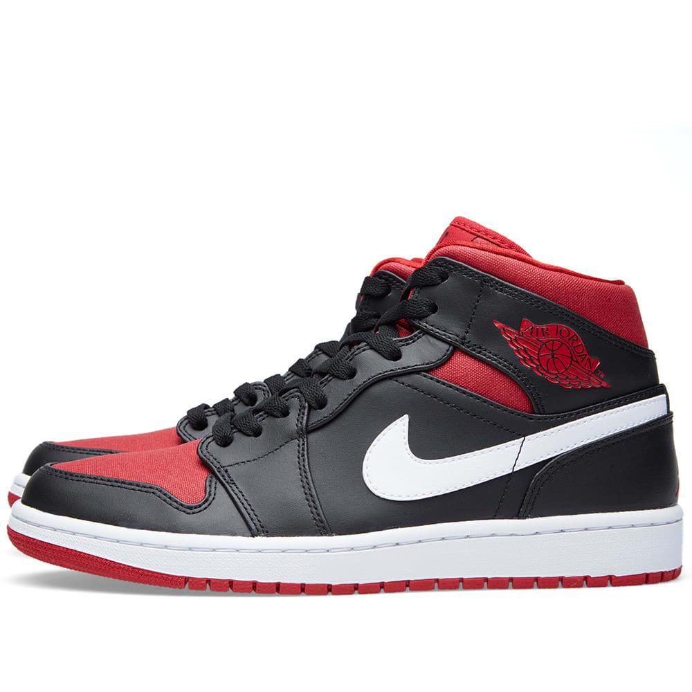 nike air jordan 1 mid 39 bred 39 black gym red. Black Bedroom Furniture Sets. Home Design Ideas