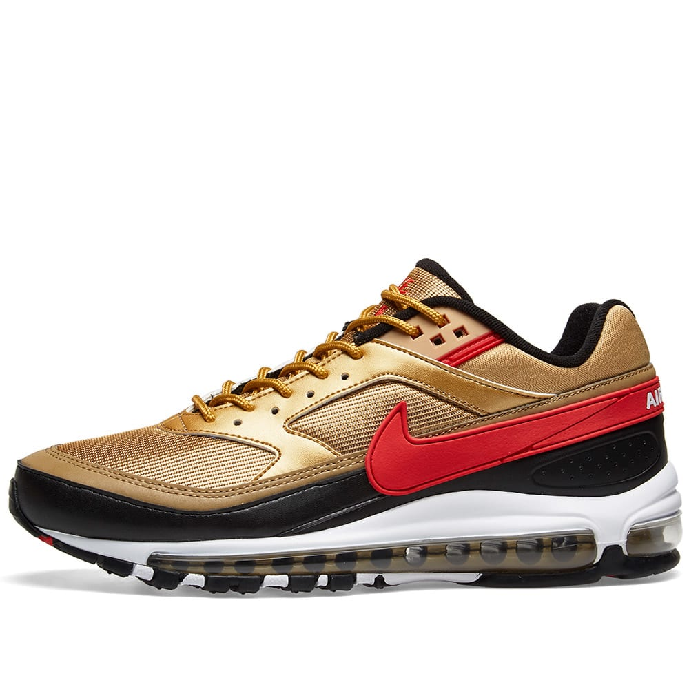 806408354 Nike Air Max 97 BW Metallic Gold   University Red