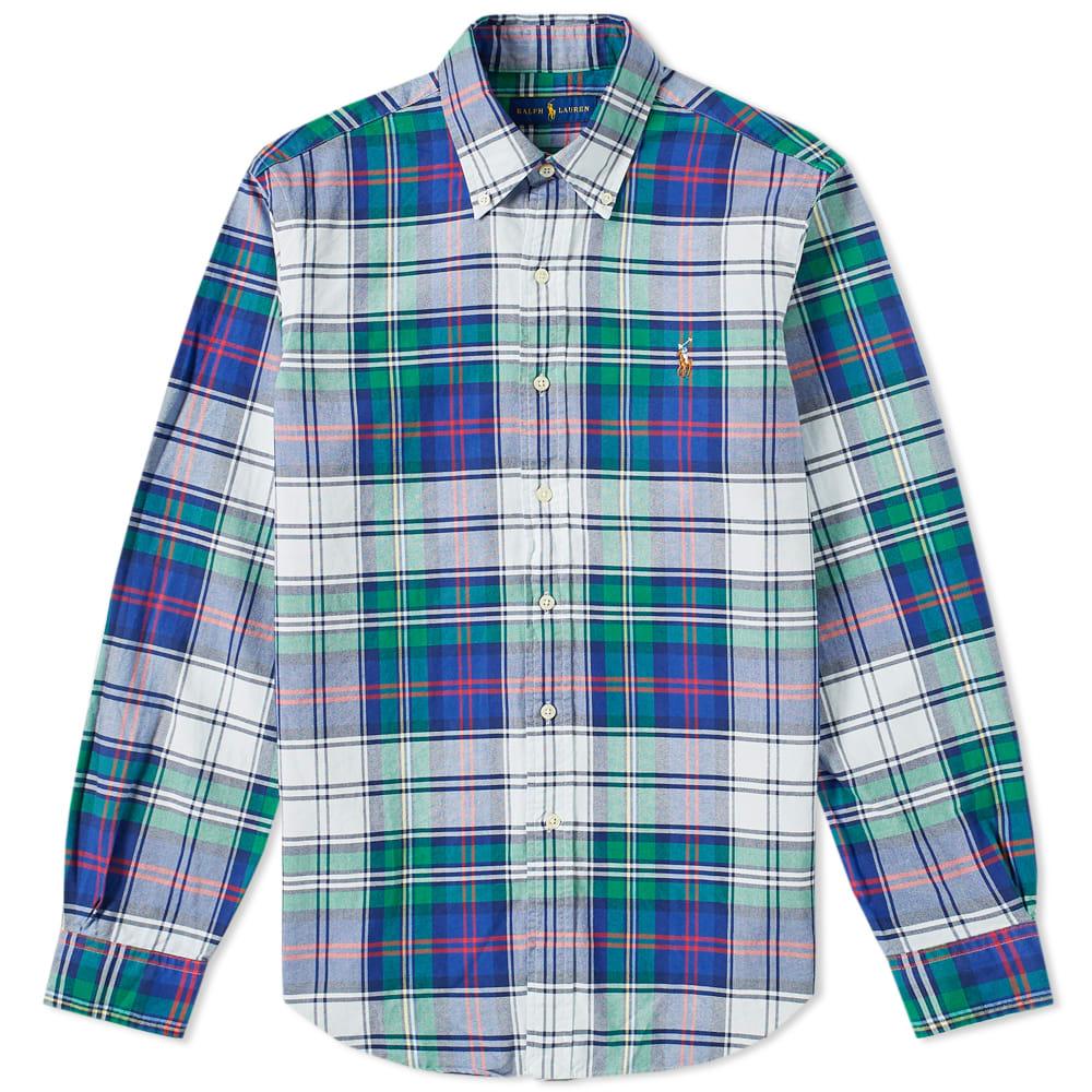 Rørig Polo Ralph Lauren Button Down Madras Check Shirt Jade & Royal CL-14