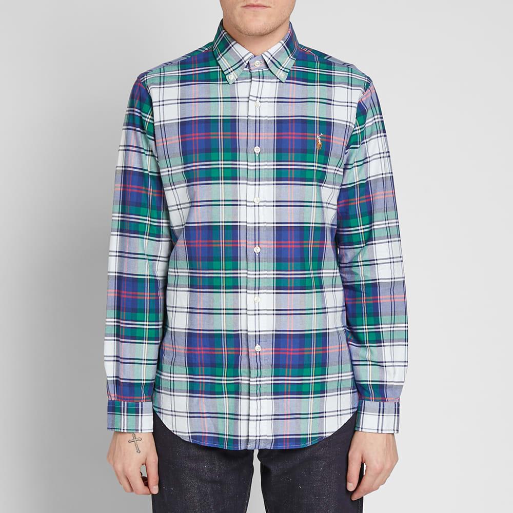 Fabriksnye Polo Ralph Lauren Button Down Madras Check Shirt Jade & Royal IP-16