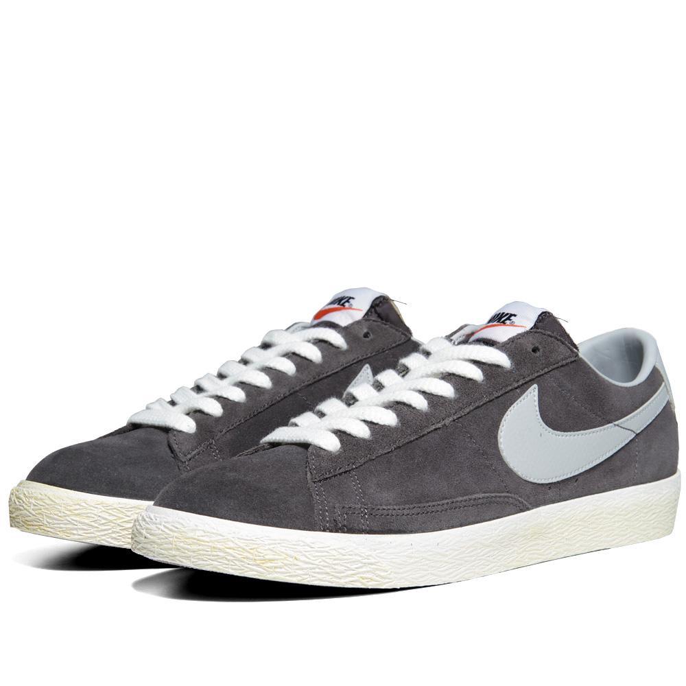 New Nike Blazer Medium Grey / White Low V Mens Athletic Shoes size