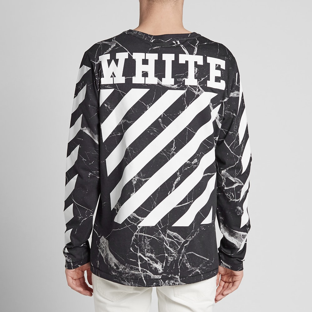 Off White Long Sleeve Marble Tee Black End