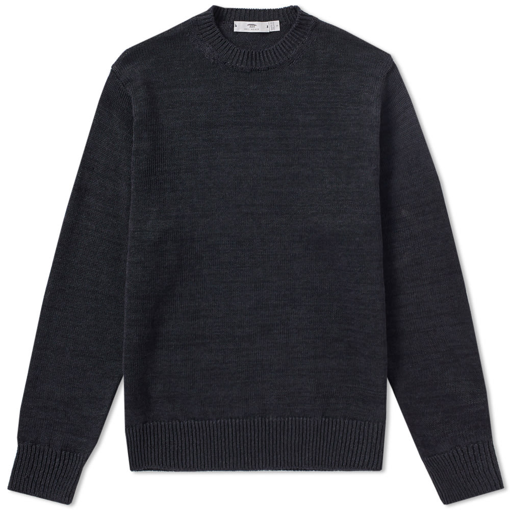 INIS MEAIN INIS MEÁIN SOLID LINEN CREW KNIT