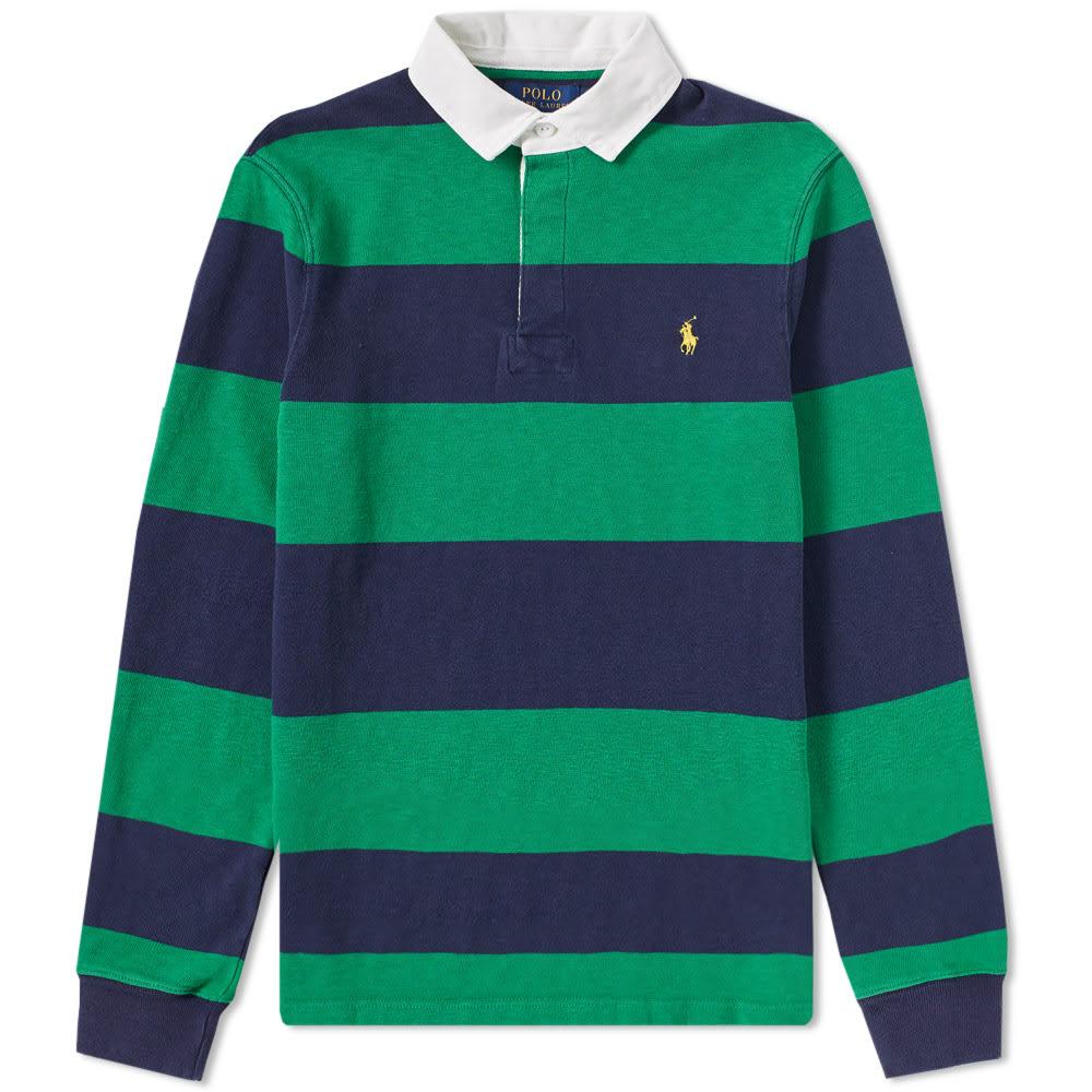 79b98fb0 Polo Ralph Lauren Stripe Rugby Shirt English Green & French Navy | END.