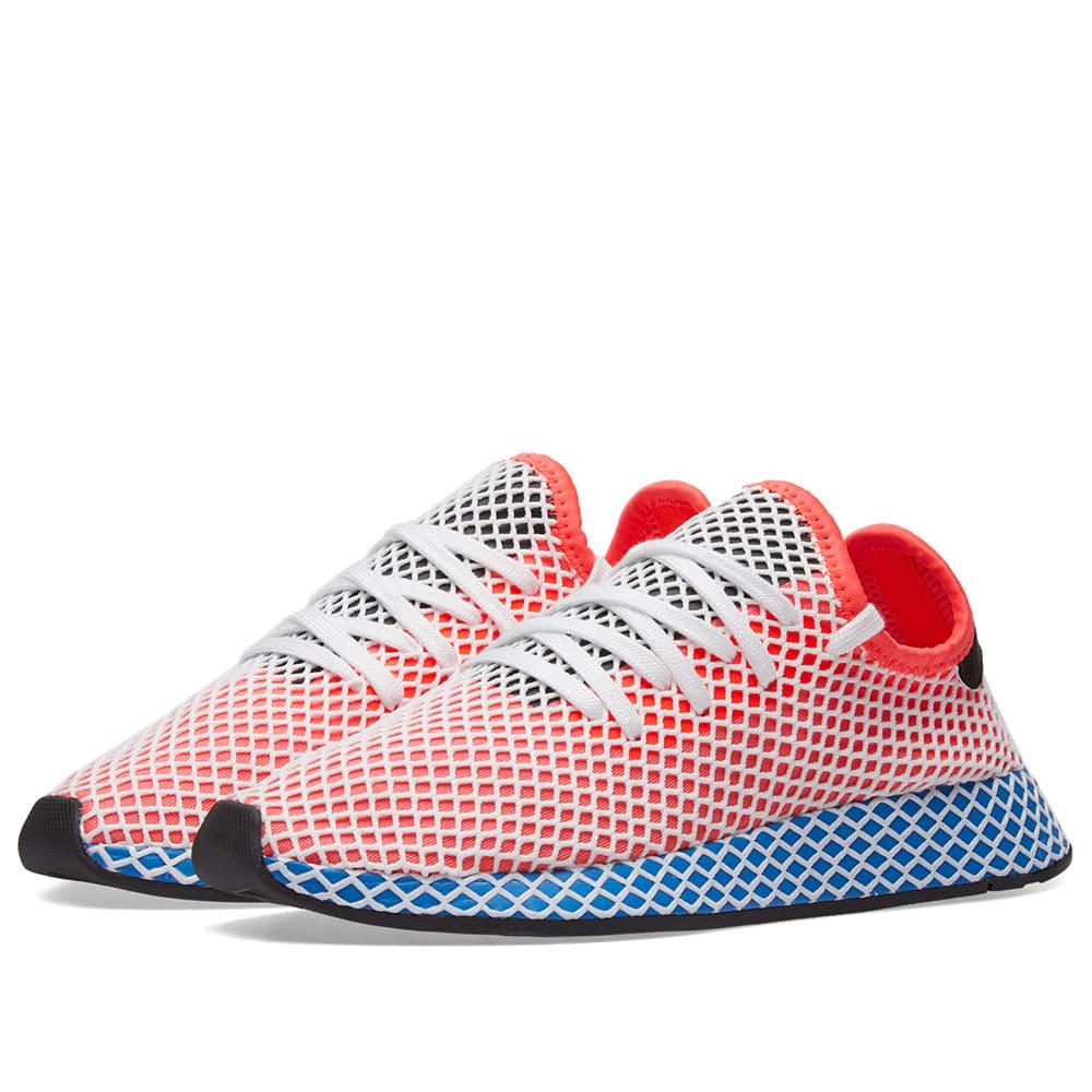 88974f41a058c Adidas Deerupt Runner Solar Red   Bluebird