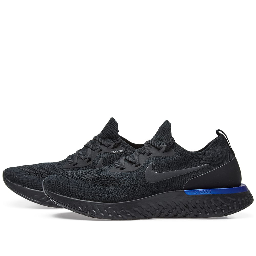 1c17db239f299 Nike Epic React Flyknit W Black   Racer Blue