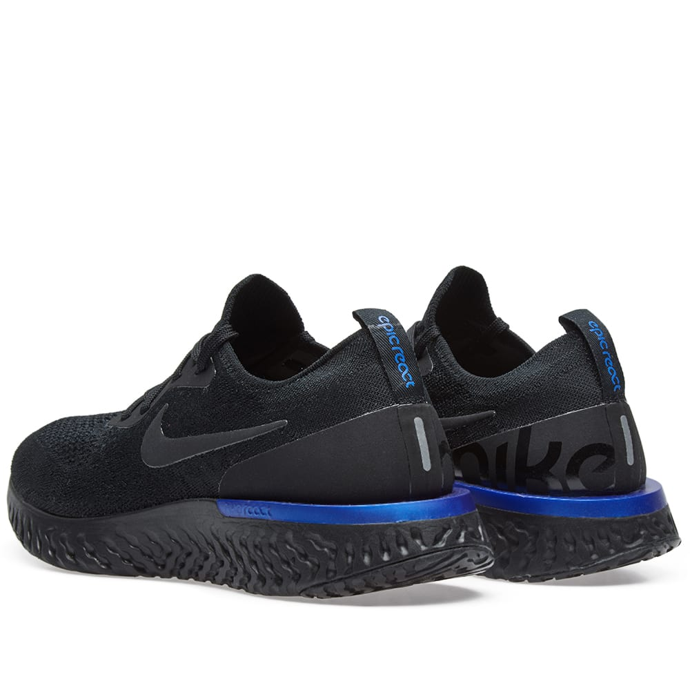 01caf79d98bc4 Nike Epic React Flyknit W Black   Racer Blue