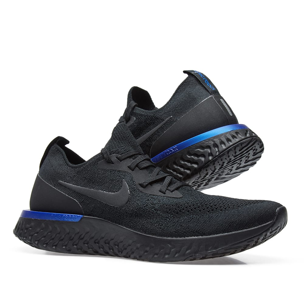 the latest 2a7fa 75be9 Nike Epic React Flyknit W. Black   Racer Blue