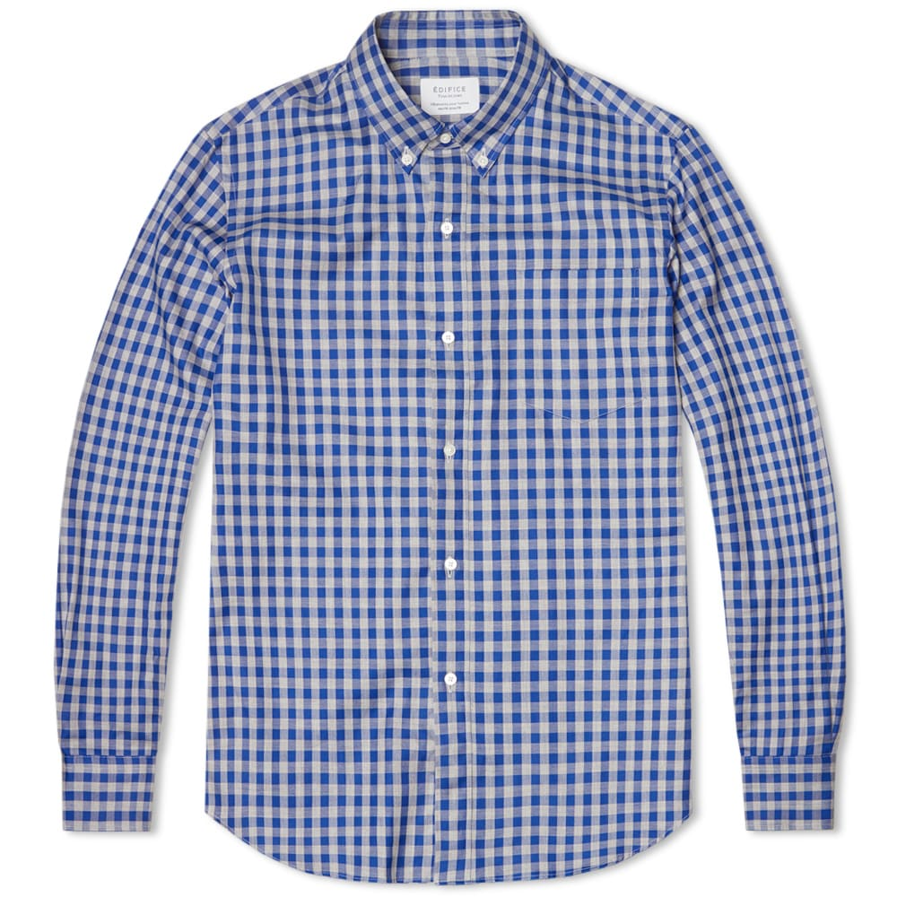 edifice button down gingham shirt blue black check