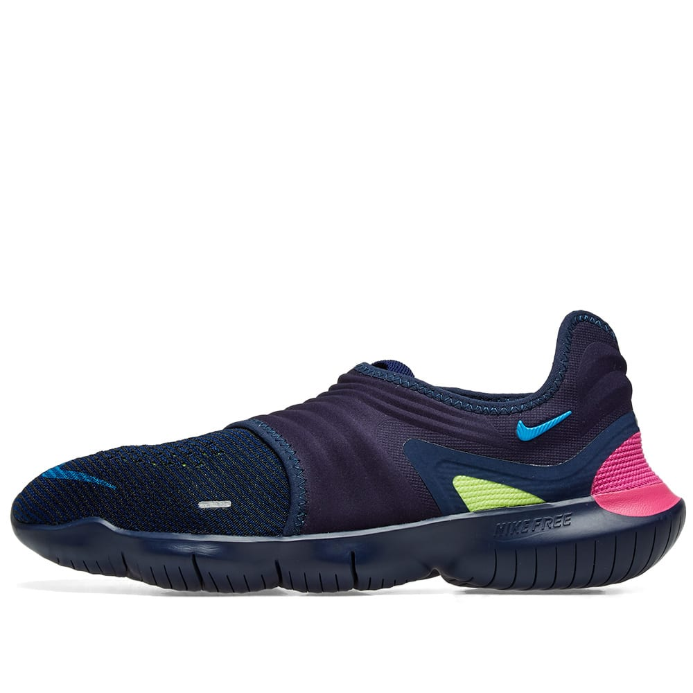 6e9b4419a81b Nike Free Run Flyknit 3.0 Midnight Navy   Volt Blue Hero