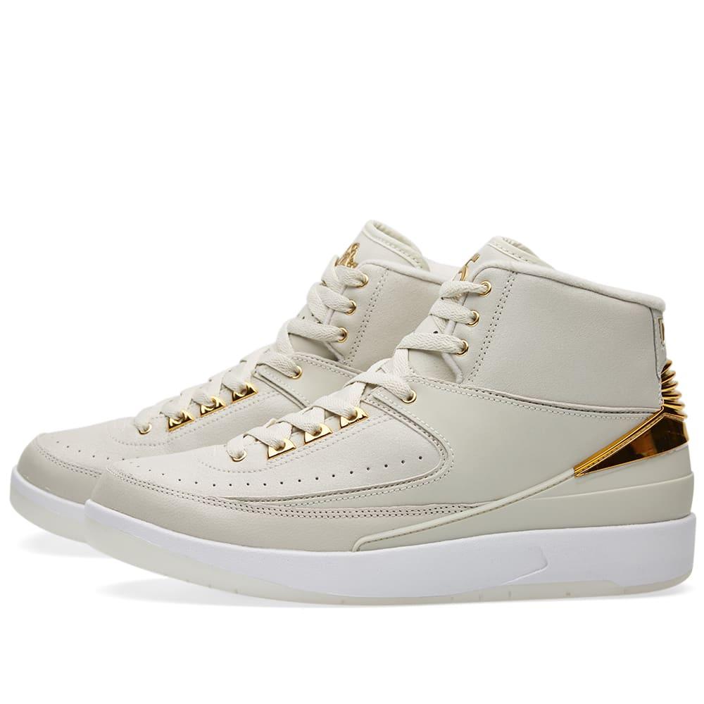 0413faed7b81e0 Nike Air Jordan 2 Retro Q54 Light Bone   Metallic Gold