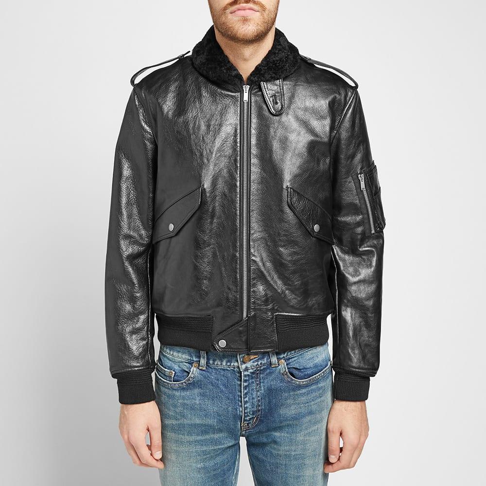 72fa623be Saint Laurent Leather Shearling Bomber Jacket