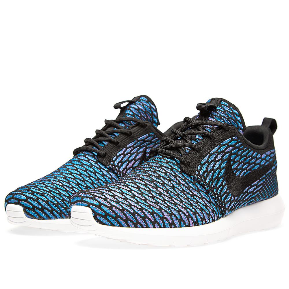 b2819e45a549 Nike Roshe NM Flyknit Black   Neo Turquoise