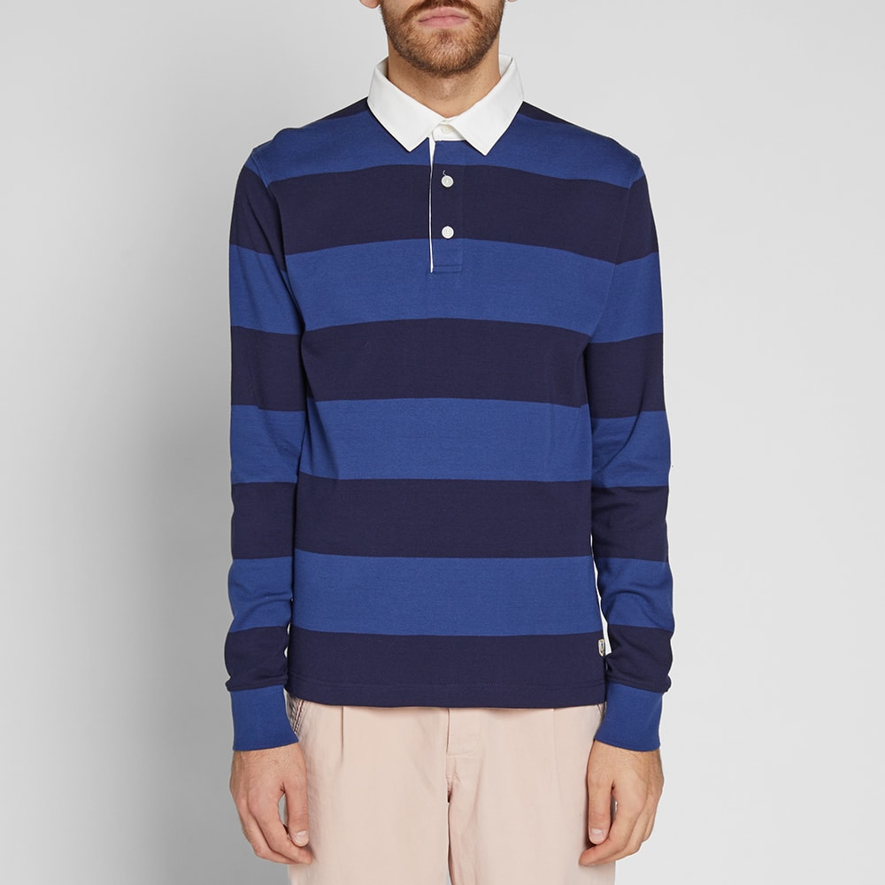 Armor lux 76886 long sleeve stripe rugby shirt blue for Long sleeve striped rugby shirt