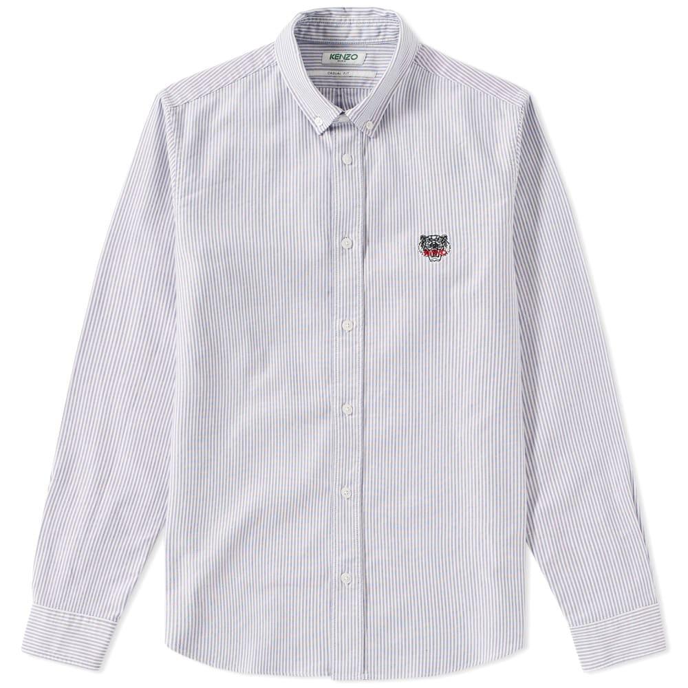 4436bc58 Kenzo Button Down Stripe Tiger Oxford Shirt White & Blue | END.