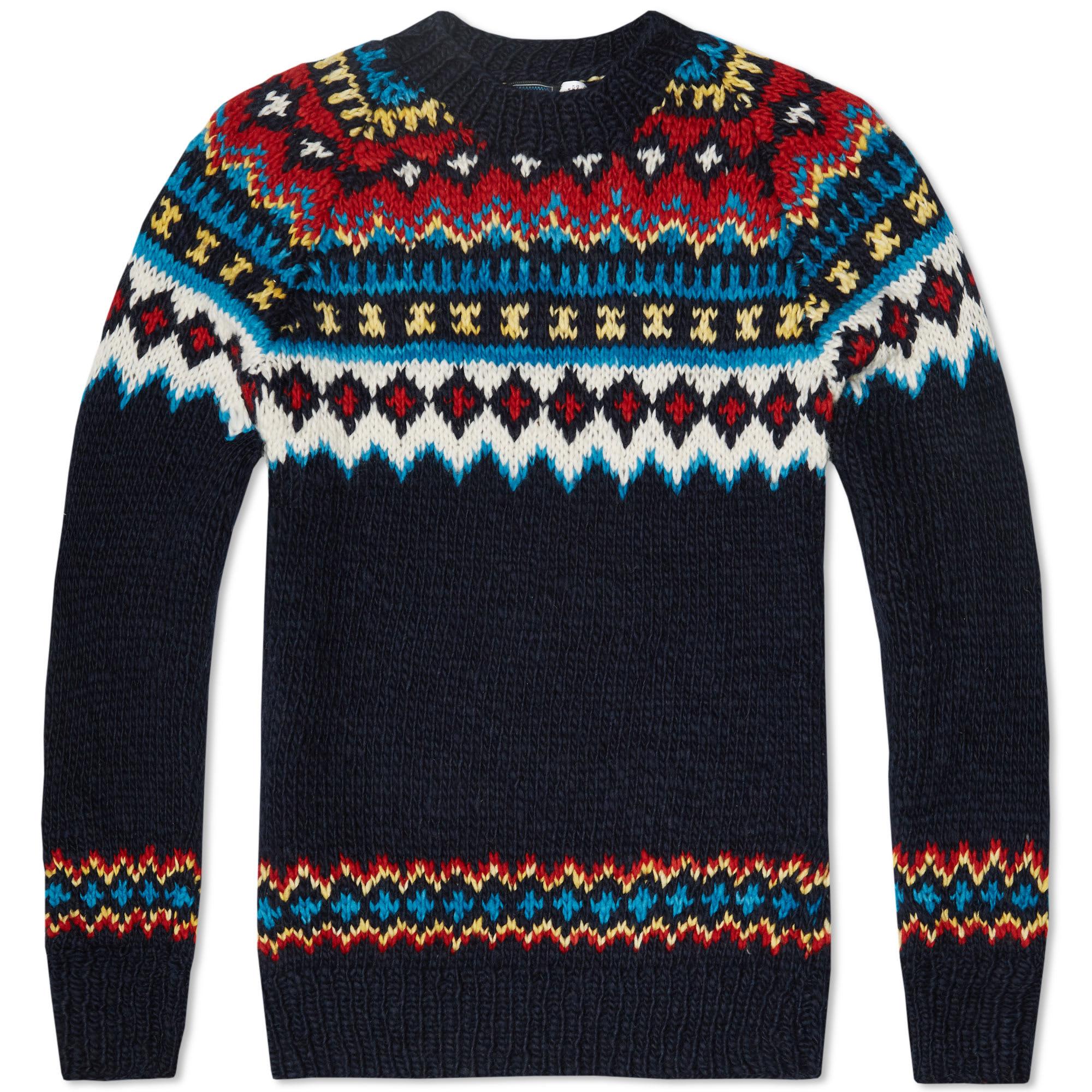 chamula fair isle pullover knit navy. Black Bedroom Furniture Sets. Home Design Ideas