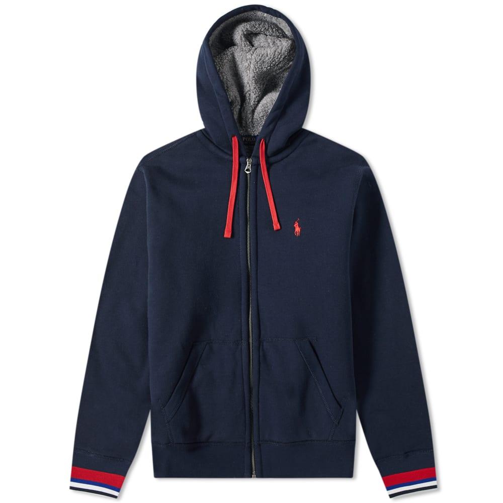 Polo Ralph Lauren Sherpa Lined Zip Hoody in Blue