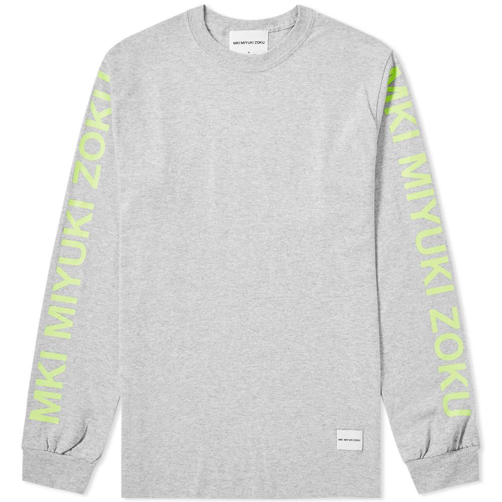 MKI | MKI Long Sleeve Neon Logo Tee Grey | Goxip