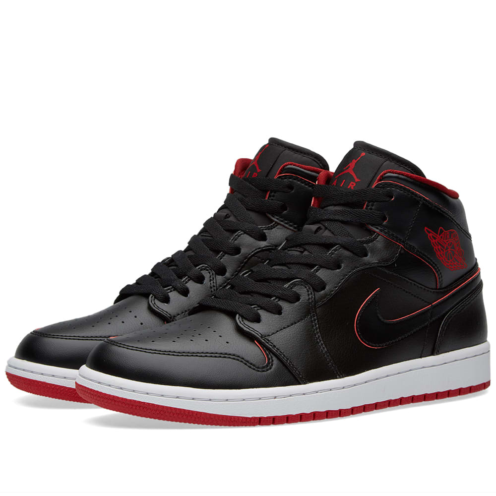 nike air jordan 1 mid black white gym red. Black Bedroom Furniture Sets. Home Design Ideas