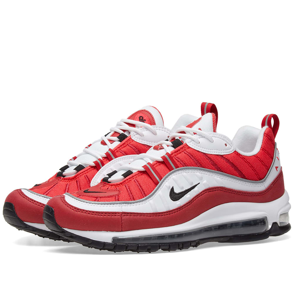 newest collection b217b 607fb Nike Air Max 98 W White, Black, Red   Silver   END.