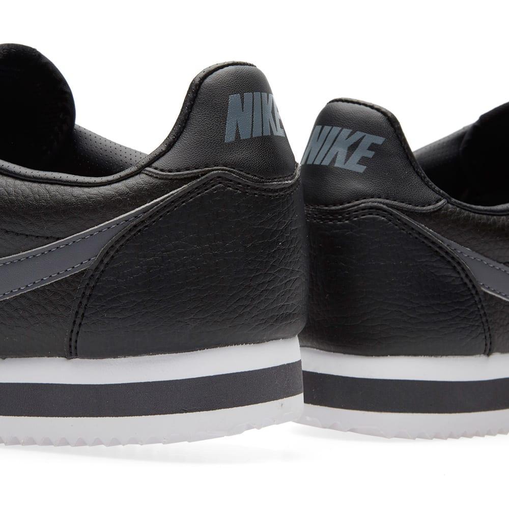 Nike Classic Cortez Leather Black Dark Grey Amp White