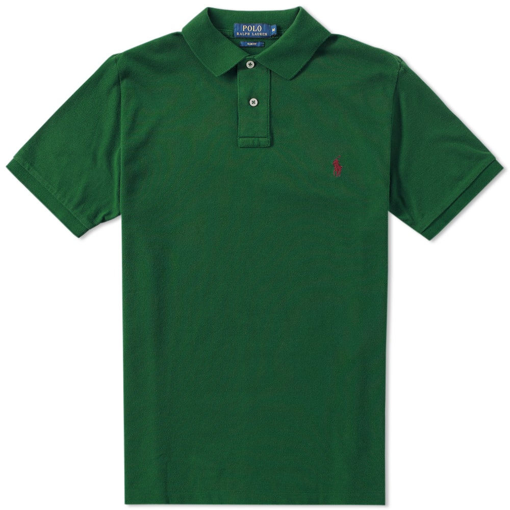 Polo ralph lauren slim fit polo forest green for Forest green polo shirts