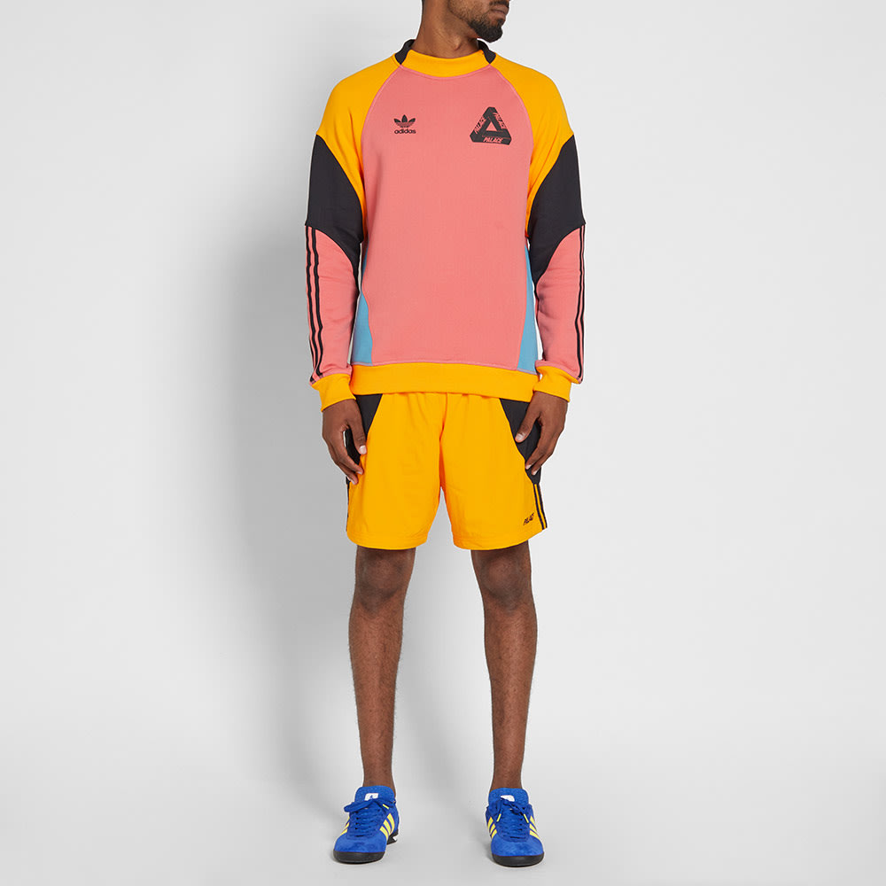 a45801f0 Adidas x Palace Crew Sweat Tactile Pink & Lucky Orange | END.
