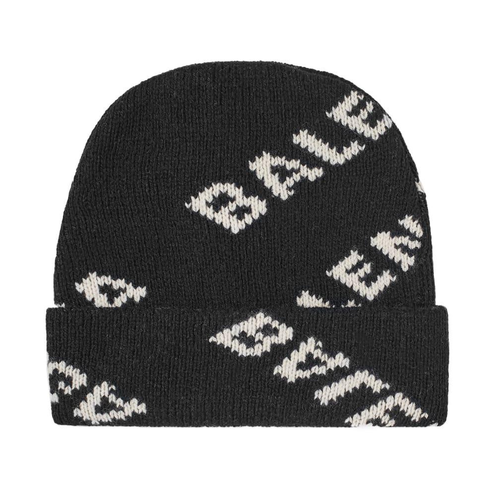 b0d8a9d589d Balenciaga All Over Logo Knit Beanie Black   White