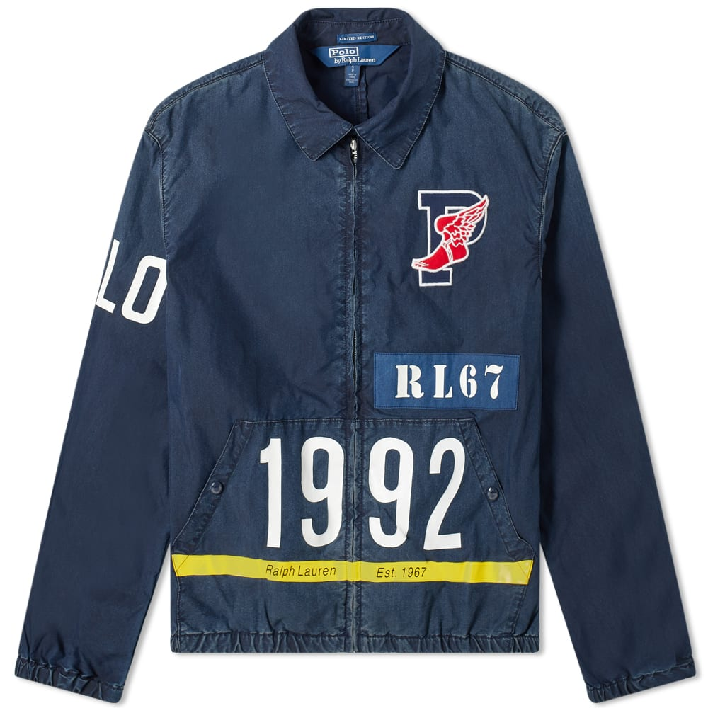 variety of designs and colors low cost official site Polo Ralph Lauren Indigo Stadium Zip Track Top