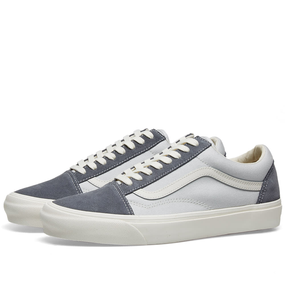 Vans Og Old Skool Lx Leather-trimmed Suede And Canvas Sneakers In Grey