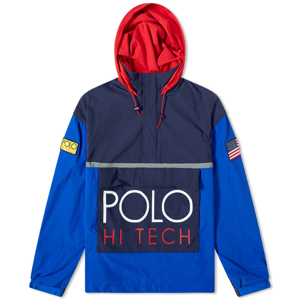 b2a76796e252d3 Polo Ralph Lauren Hi-Tech Colour Block Pullover Jacket Bright Royal &  Newport Navy | END.