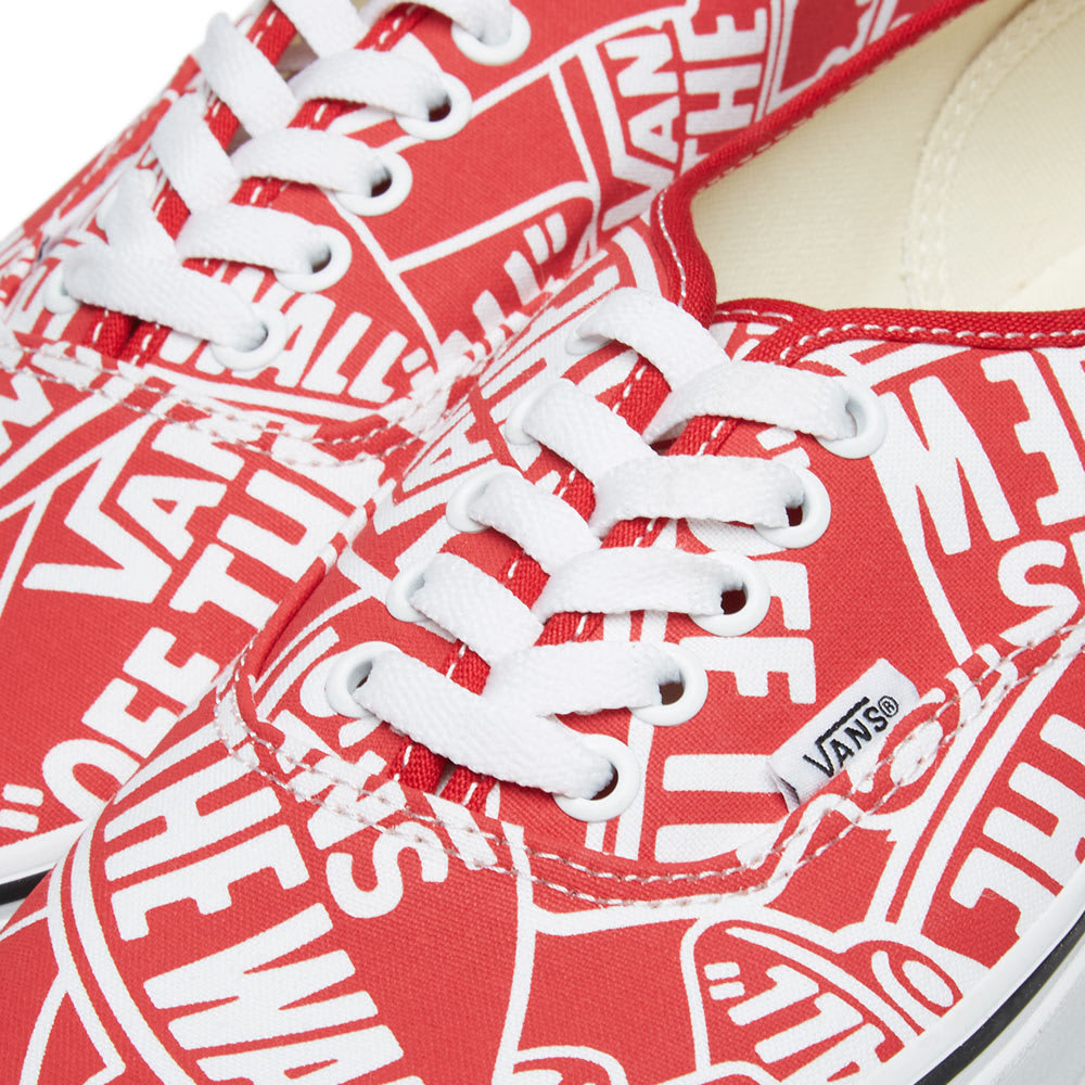 8ba026d293 Vans Off The Wall Printed Authentic OTW Repeat Red   True White