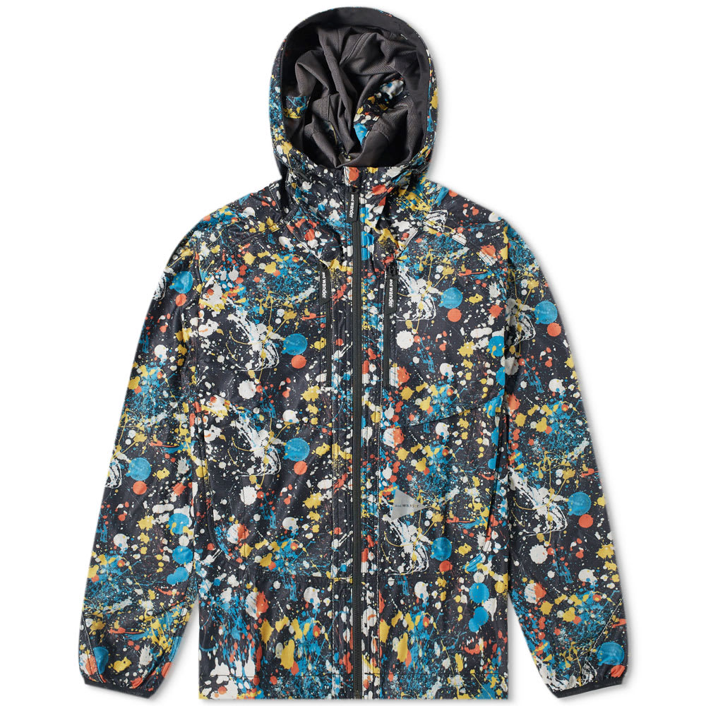 And Wander Splatter Print Raschel Rip Jacket by And Wander