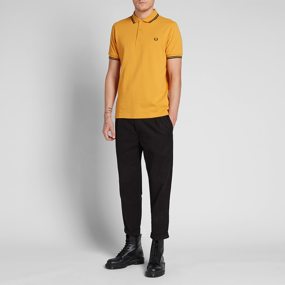 b30928443 Fred Perry Slim Fit Twin Tipped Polo NC Amber   Black
