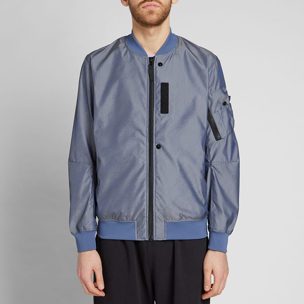 a127bc098e33d0 Stone Island Shadow Project Lenticular Jacquard Zip Bomber Jacket Bluette