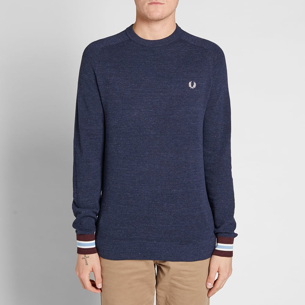 fred perry textured pique crew sweat vintage navy. Black Bedroom Furniture Sets. Home Design Ideas