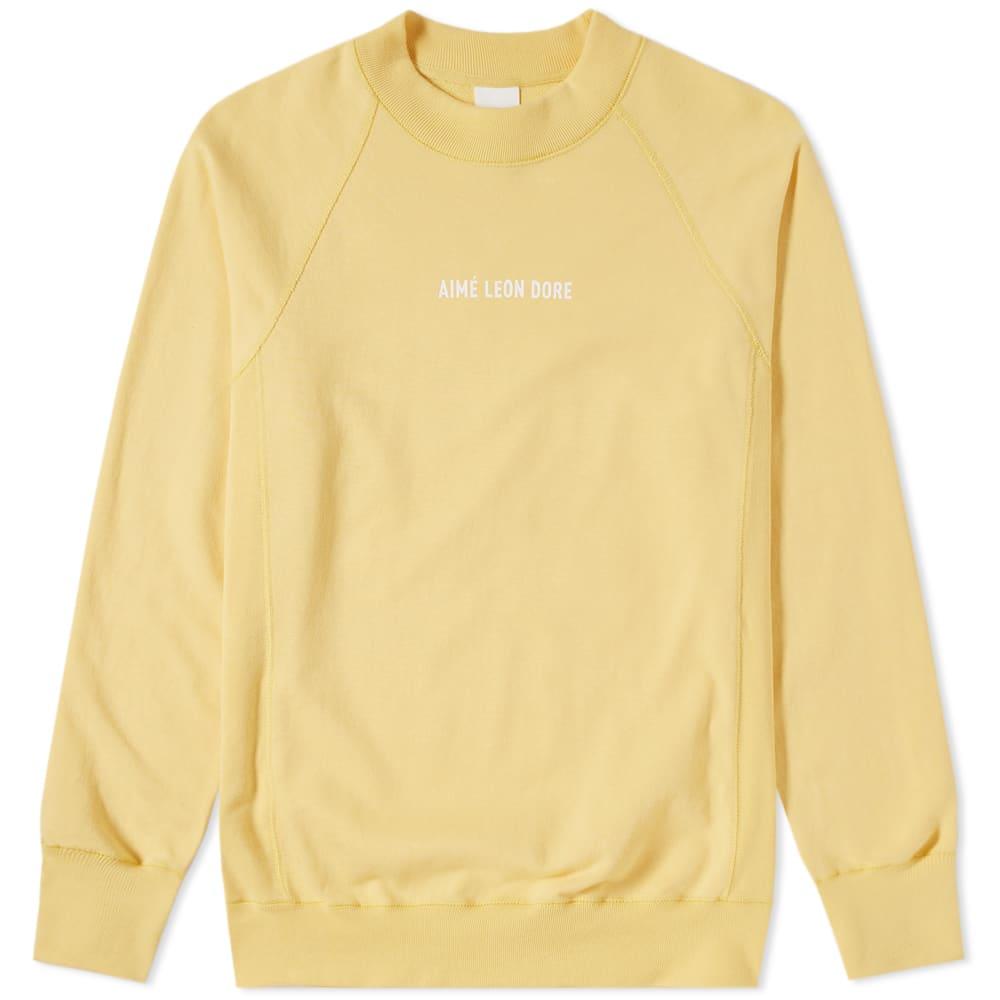 AIMÉ LEON DORE Logo-Print Loopback Cotton-Jersey Sweatshirt in Yellow