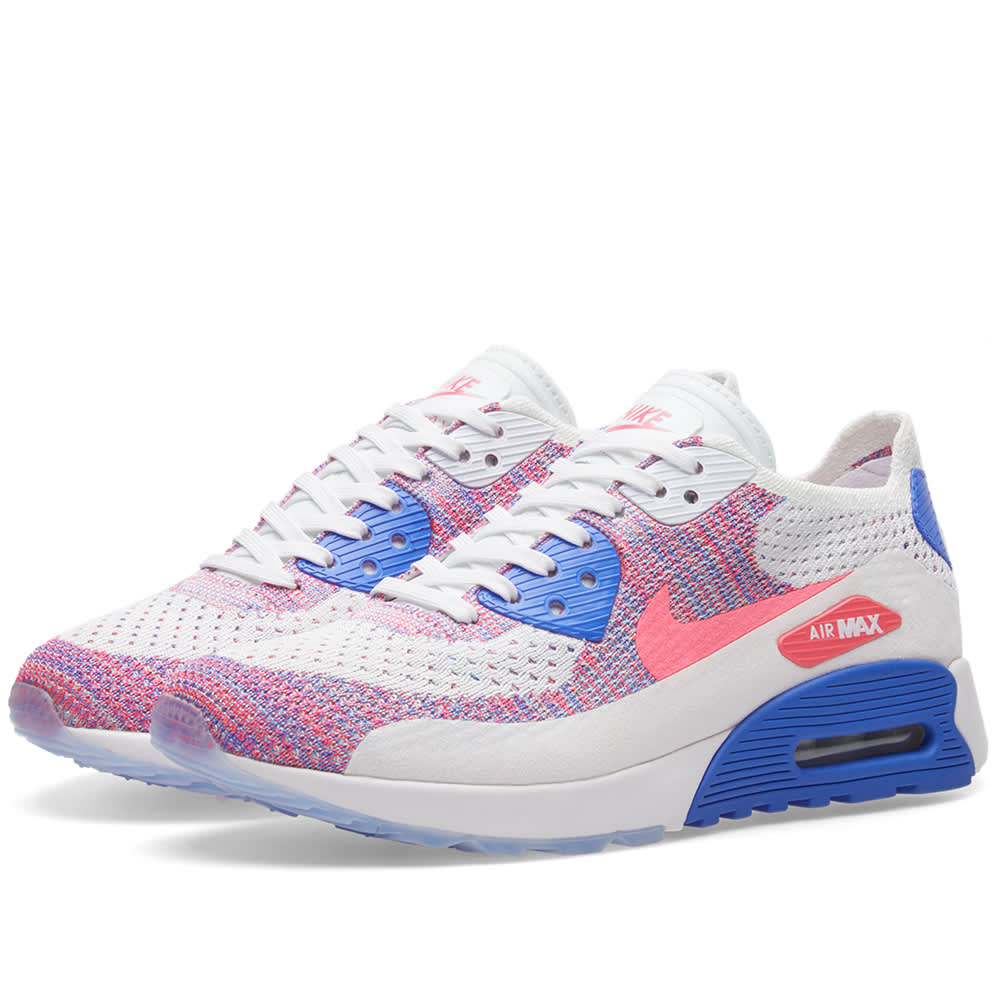 110ea8c1 Nike W Air Max 90 Ultra 2.0 Flyknit White, Racer Pink & Blue | END.