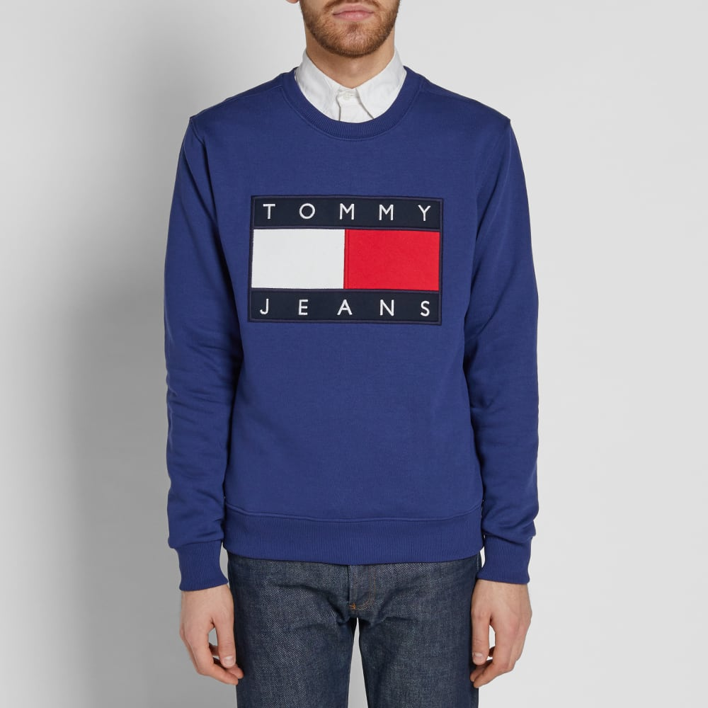 Navy Tommy Jeans Classic Flag Sweat White Grey Tommy Hilfiger Sweatshirt